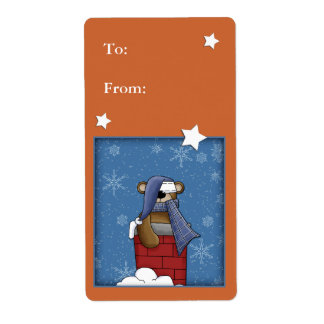 Christmas bear in chimney shipping label