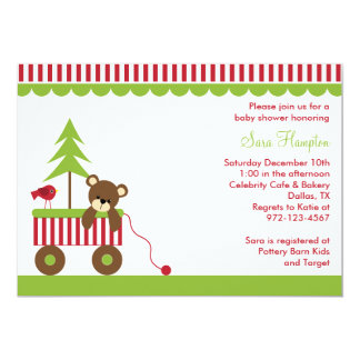 Christmas Bear in Wagon Invitations