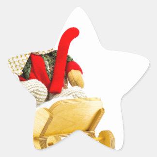 Christmas bear in wooden sleigh on white star sticker