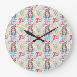 Christmas Bear Pattern Large Clock