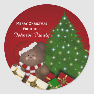 Christmas Bear Personalised Stickers