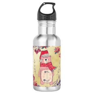 Christmas Bear Watercolor Berries Gold 532 Ml Water Bottle