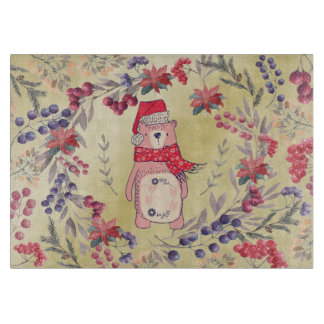 Christmas Bear Watercolor Berries Gold Cutting Board
