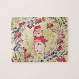 Christmas Bear Watercolor Berries Gold Jigsaw Puzzle