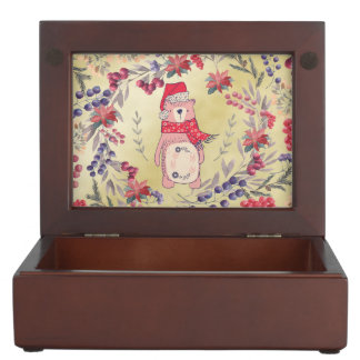 Christmas Bear Watercolor Berries Gold Keepsake Box