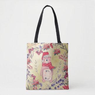 Christmas Bear Watercolor Berries Gold Tote Bag