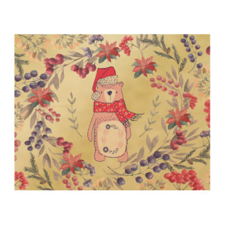 Christmas Bear Watercolor Berries Gold Wood Wall Art