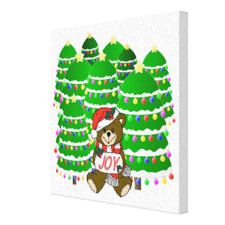 Christmas Bear with JOY Sign and ChristmasTrees Canvas Prints