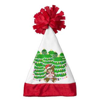 Christmas Bear with JOY Sign and ChristmasTrees Santa Hat