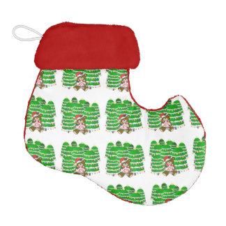 Christmas Bear with JOY Sign and ChristmasTrees Elf Christmas Stocking