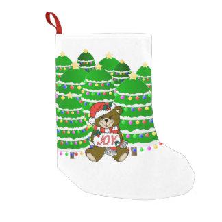 Christmas Bear with JOY Sign and ChristmasTrees Small Christmas Stocking