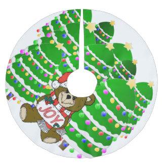 Christmas Bear with JOY Sign and ChristmasTrees Tree Skirt