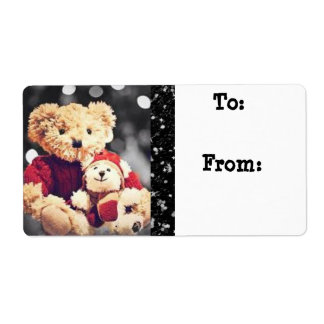 Christmas  Bears Gift Tag Label Stickers Shipping Label