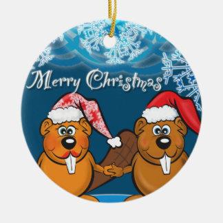 christmas beavers ceramic ornament