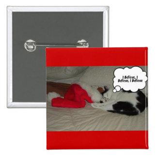 Christmas Believe Black and White Kitten 15 Cm Square Badge
