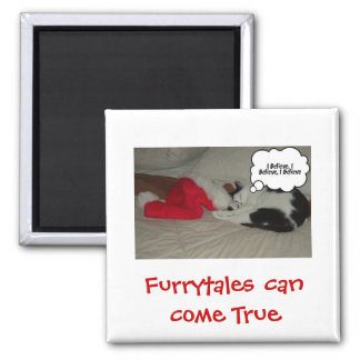 Christmas Believe Black and White Kitten Magnet