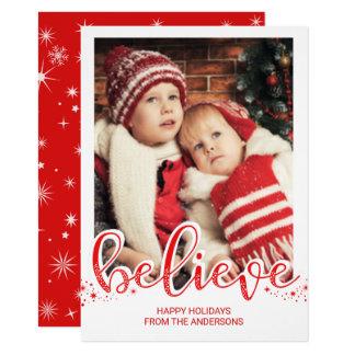 Christmas Believe Whimsical Hand Script Photo 11 Cm X 16 Cm Invitation Card