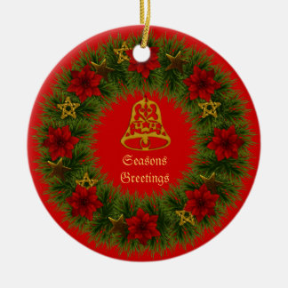 Christmas Bell and Wreath Ornament Round Ceramic Ornament