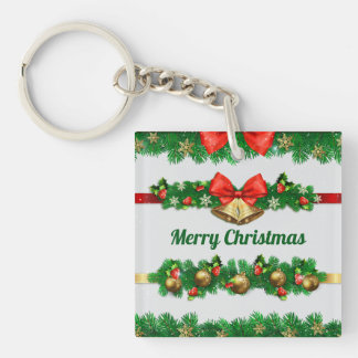 Christmas Bells and Hollies Keychain