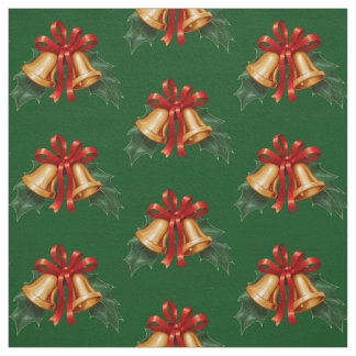 Christmas Bells and Holly Leaves Green Fabric