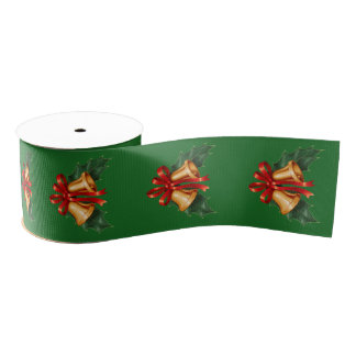 Christmas Bells and Holly Leaves Green Grosgrain Ribbon