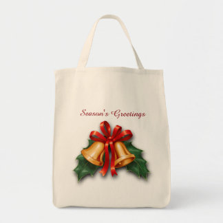 Christmas Bells and Holly Leaves Grocery Tote Bag