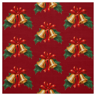 Christmas Bells and Holly Leaves Red Fabric