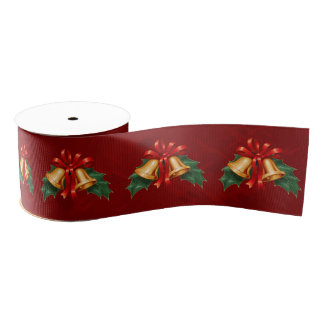 Christmas Bells and Holly Leaves Red Grosgrain Ribbon