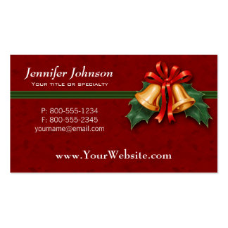 Christmas Bells and Holly Leaves Red Pack Of Standard Business Cards