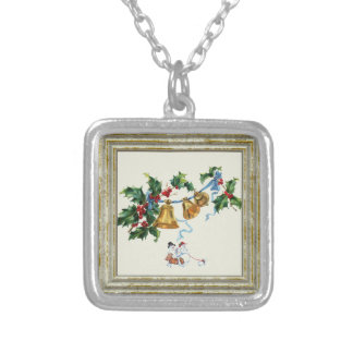 Christmas Bells And Holly Silver Plated Necklace