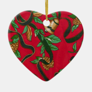 Christmas Bells and Pine Cones Ceramic Heart Decoration