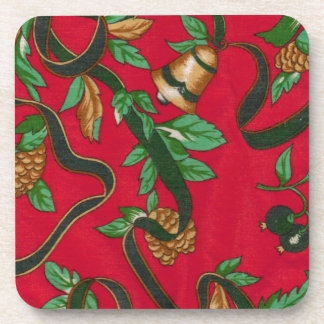 Christmas Bells and Pine Cones Drink Coasters