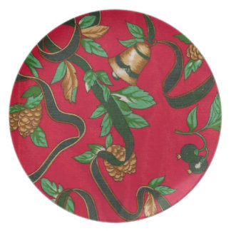 Christmas Bells and Pine Cones Dinner Plates