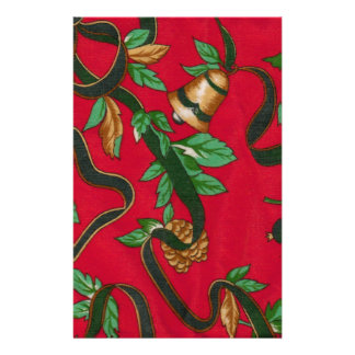 Christmas Bells and Pine Cones Customized Stationery