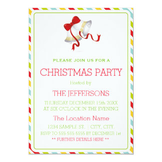 Christmas Bells & Colorful Stripes Christmas Party Card