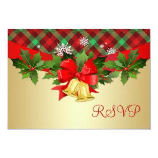 Christmas bells, holly and tartan pattern RSVP 9 Cm X 13 Cm Invitation Card