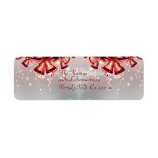 Christmas Bells In Red & Silver Return Address Label