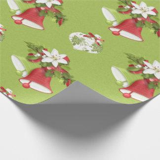 Christmas Bells, Poinsettias & Ornaments Gift Wrap