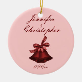 """Christmas Bells"" - Shades of Cranberry Round Ceramic Decoration"