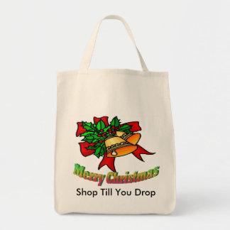 Christmas Bells, Shop Till You Drop Grocery Tote Bag
