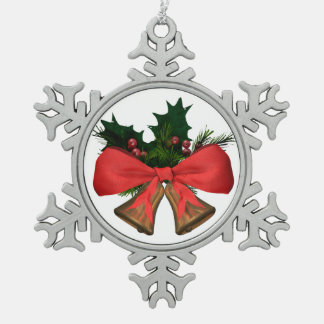 christmas bells snowflake pewter christmas ornament