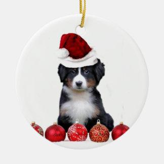 Christmas Bernese Mountain dog Round Ceramic Decoration