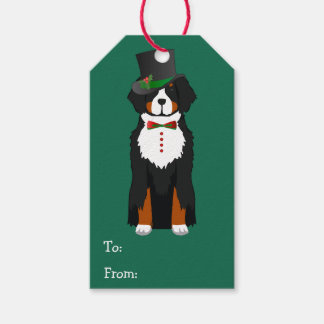 Christmas Bernese Mt Dog Dapper Holiday Tuxedo Gift Tags