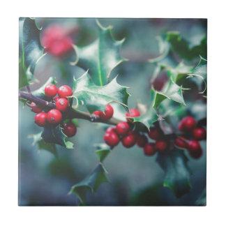 Christmas berries ceramic tile