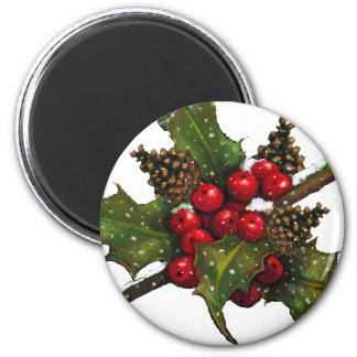 Christmas: Berries, Holly, Pine Cones: Art 6 Cm Round Magnet