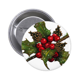 Christmas Berries Holly Pine Cones Art Pinback Button