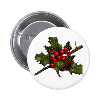 Christmas Berries Holly Pine Cones Art Pins