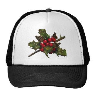 Christmas: Berries, Holly, Pine Cones: Art Mesh Hat