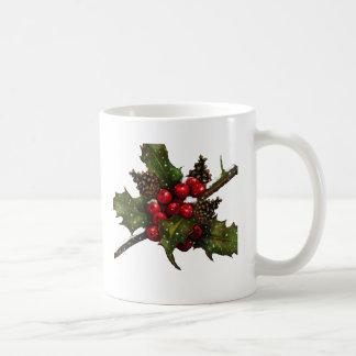 Christmas: Berries, Holly, Pine Cones: Art Mug