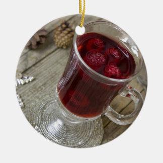 Christmas berries punch ceramic ornament